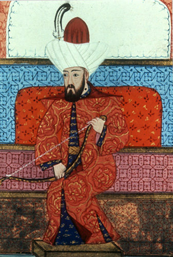 Sultan Orhan presenting a bow to the Egyptian Ambassador, detail from page 72A of sixteenth century manuscript H 1563, Topkapi Palace Museum, Istanbul, Turkey
