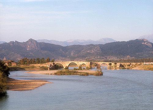 Ancient Eurymedon river near Aspendos and Perge with Selcuk bridge, Turkey