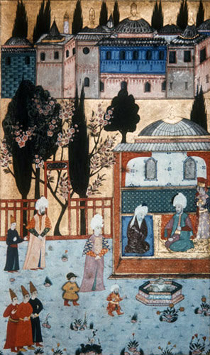 Suleyman the Magnificent and the Grand Vizier in the Topkapi Palace gardens, 16th century miniature in ms  H 1524 page 232b, Topkapi Palace Museum, Istanbul