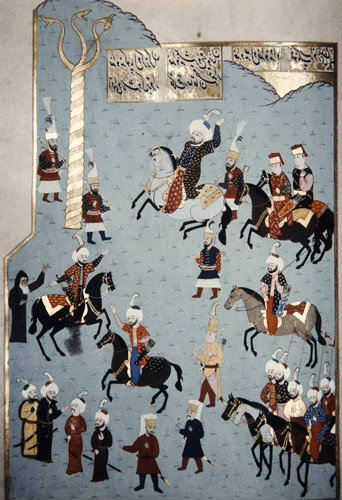 Mehmed II the Conqueror in the Hippodrome, Istanbul, 16th century miniature from ms H.1523, p 162B, Book of Accomplishments, Topkapi Palace Museum, Istanbul