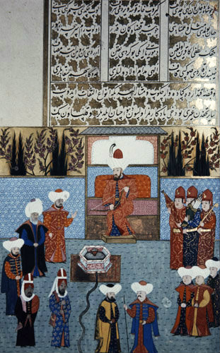 Sultan Orhan presenting bow to Egyptian ambassador, 16th century miniature from ms H.1523 p72A, Book of Accomplishments, Topkapi Palace Museum, Istanbul