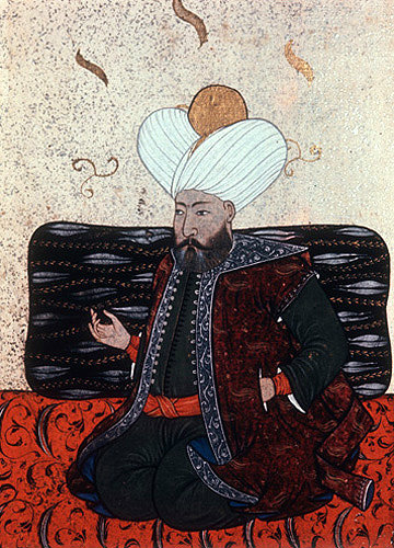 Sultan Murad I, 1359-1389 portrait from nineteenth century manuscript no 3109, Topkapi Palace Museum, Istanbul, Turkey