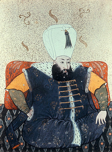 Sultan Mehmed III, 1595-1603, portrait from nineteenth century manuscript no 3109, Topkapi Palace Museum, Istanbul, Turkey