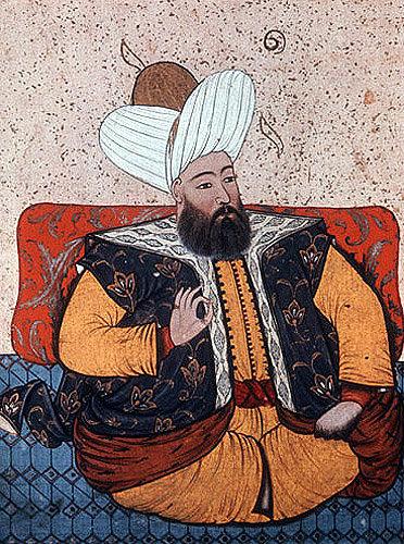 Sultan Murad II 1421-1451, portrait from nneteenth century manuscript no 3109, Topkapi Palace Museum, Istanbul, Turkey