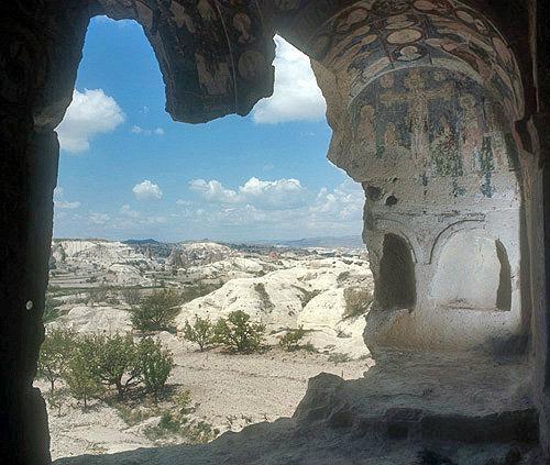 Ninnazan-el Nazar Kilise (church) dating from tenth century, and view outside cones, Cappadocia, Turkey