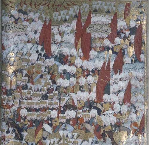 Suleyman besieging Rhodes, 16th century manuscript, MS H.1517, Topkapi Museum, Istanbul, Turkey