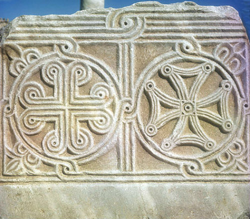 Detail of two sixth-century carved crosses, St John