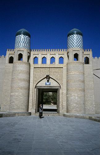 Uzbekistan, Khiva, twin towered entrance to the Kunya Ark citadel