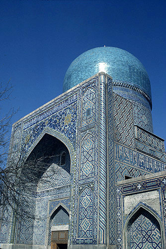 Uzbekistan, Samarkand, Tillia Kari Madrasa, entrance to mosque
