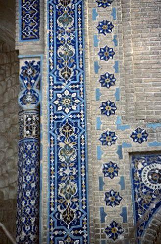 Uzbekistan, Samarkand, Gur Emir mausoleum, tomb of Timur, central Asian emperor known as Tamburlaine the Great, decorative tile work