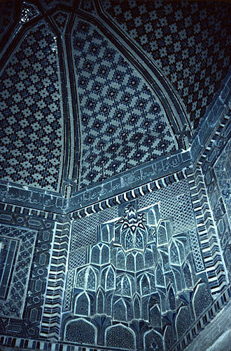 Uzbekistan, Samarkand, Shah-I-Zinda necropolis,  Kumas Ibn Abbas mausoleum, interior tilework