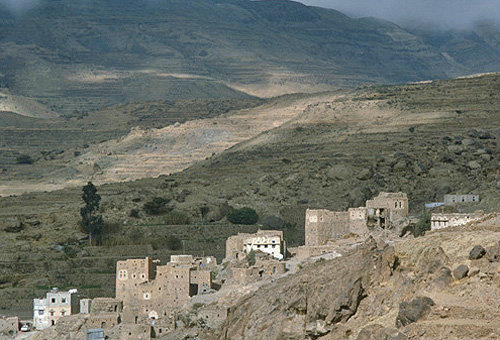 Yemen village in mountains near Sana a