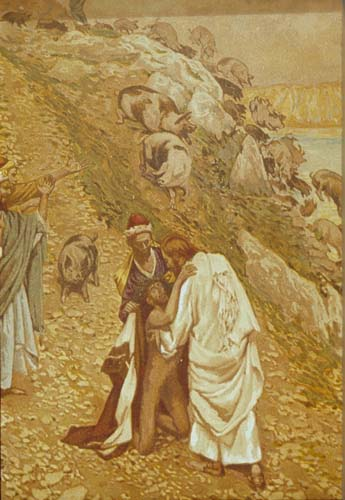 Parable of the Gadarene swine driven over the cliff into the sea, 19th century painting by James Tissot, Great Britain