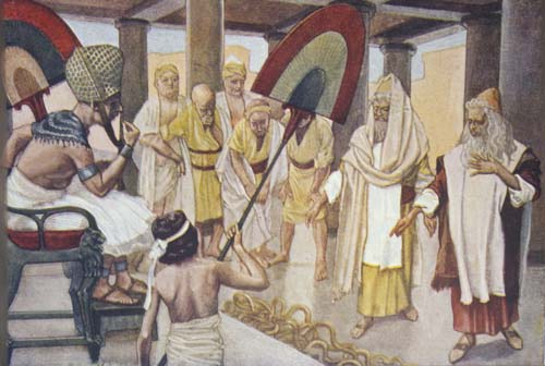 Rod of Aaron devours the other rods, 19th century painting by James Tissot, Great Britain