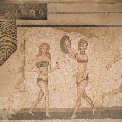 Bikini Girls, 3rd century Roman mosaic, Piazza Armerina, Sicily, Italy