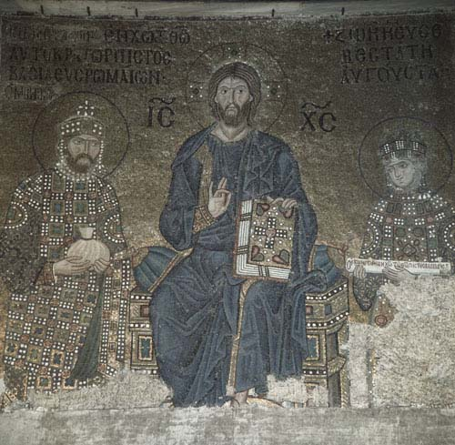 Christ, Zoe and Constantine, 12th century mosaic, Hagia Sofia, Istanbul, Turkey