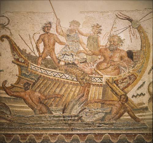 Dionysus and Old Silene, 3rd century mosaic, Bardo Museum, Tunis, Tunisia