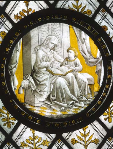 Eunice and Timothy, 16th century Flemish stained glass roundel, Church of St John, Rownhams, Hampshire, England, Great Britain
