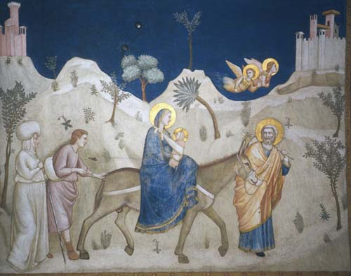 Flight into Egypt of the Holy Family  by Giotto, 14th century wall painting, Assisi, Italy