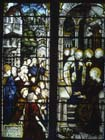 St Paul receives money given by St Barnabas and others, 19th century stained glass, Lichfield Cathedral, Staffordshire, England, Great Britain
