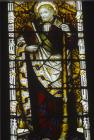 St James the Greater, 19th century stained glass, Wells Cathedral, Somerset, England, Great Britain