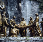France, Lourdes, Calvary Station 14 Joseph of Arimathea laying Christ in his Sepulchre