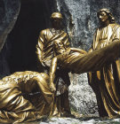 France, Lourdes, Calvary Station 14 Joseph of Arimathea laying Christ in his Sepulchre detail
