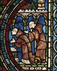 Monks praying, 13th century stained glass, Trinity Chapel, Canterbury Cathedral, Kent, England, Great Britain