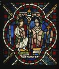 Henry II and Thomas  Becket, 13th century stained glass, Trinity Chapel, Canterbury Cathedral, Kent, England, Great Britain