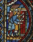 Knights at the cathedral door, 13th century stained glass, Canterbury Cathedral, Kent, England, Great Britain