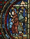 Armed knight and monk, 13th century stained glass, Trinity Chapel, Canterbury Cathedral, Kent, England, Great Britain