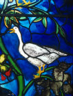 Goose, detail from Christmas window by John Piper, church of St Mary the Virgin, Iffley, Oxfordshire, England