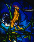 Cockerel, detail from Christmas window, by John Piper, church of St Mary the Virgin, Iffley, Oxfordshire, England