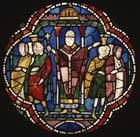 St Dunstan separating clerks from monks, 13th century stained glass, Canterbury Cathedral, Kent, England, Great Britain