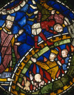 St Dunstan releasing King Edwy from hell, 13th century stained glass, Canterbury Cathedral, Kent, England, Great Britain