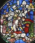 Sacking of Canterbury, 13th century stained glass, north triforium, Canterbury Cathedral, Kent, England, Great Britain