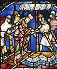 Abduction of St Alphege, 13th century stained glass, north triforium, Canterbury Cathedral, Kent, England, Great Britain