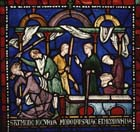 Matilda of Cologne being beaten on her way to the tomb, 13th century stained glass, north aisle, Trinity Chapel, Canterbury Cathedral, Kent, England, Great Britain