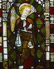 St Michael weighing souls, east window, Malvern School of Glass makers, 1320, St Michael and All Anglels Church, Eaton Bishop, Herefordshire, England, Great Britain