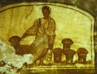 Blessing the bread, late 3rd century AD, early Christian wall painting, vault of a crypt in the cemetry of St Paul and St Marcellus, Rome, Italy