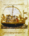 Arabs aboard sailing boat, ms arabe 6094, folio 68, Bibliotheque Nationale, Paris
