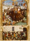Arrival of Louis IX at Damietta in 1249, MS francais 2829 fol 34v, Vie et Miracles de Saint Louis by Guillaume de Saint-Pathus, Bibliotheque Nationale Paris, France
