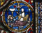 King Hezekiah lies near death, 13th century stained glass, Poor Mans Bible window, Corona Chapel, Canterbury Cathedral, Kent, England, Great Britain