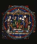 Cure of Ethelreda, Miracles of Thomas Becket, 13th century stained glass, Trinity Chapel, Canterbury Cathedral, Kent, England, Great Britain