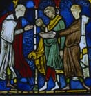 Pilgrims with healing water of St Thomas 13th century stained glass, Trinity Chapel, Canterbury Cathedral, Kent, England, Great Britain