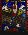 Parable of the sower among thorns, 12th century stained glass, Poor Mans Bible window I, Canterbury Cathedral, Kent, England, Great Britain