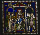 Adoration of the Magi and Shepherds, Poor Mans Bible window, 12th century stained glass, north choir aisle, Canterbury Cathedral, Kent, England, Great Britain