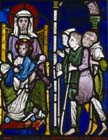 Adoration of the Shepherds, 13th century stained glass, Canterbury Cathedral, Kent, England, Great Britain