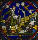 Sower on stony ground, Poor Mans Bible window, 13th century stained glass, north choir aisle, Canterbury Cathedral, Kent, England, Great Britain