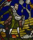 Parable of the sower on stony ground, 13th century stained glass, Poor Mans Bible window, north choir aisle, Canterbury Cathedral, Kent, England, Great Britain